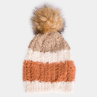 Soft Cable Knit Striped Pom Pom Beanie