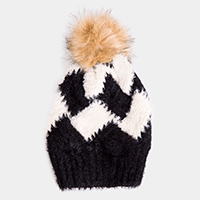 Soft Cable Knit Check Pattern Pom Pom Beanie