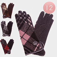 12 Pairs Pom Pom Detail Plaid Check Fur Lining Touch Gloves