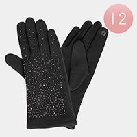 12 Pairs Studs Fur Lining Touch Gloves