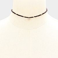 Seed Beaded CZ Brass Round Charm Choker Necklace