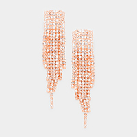 Marquise Rhinestone Fringe Evening Earrings