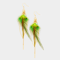 Leaf Charm Long Drop Chain Feather Earrings