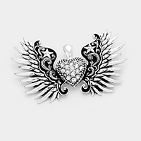 Stone Embossed Antique Wings Heart Magnetic Pendant