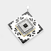 Stone Embossed Antique Square Magnetic Pendant