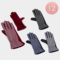 12Pairs - Bling Fur Lining Touch Gloves