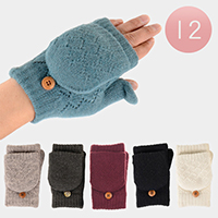 12 Pairs Button Fingerless Flip Cover Fur Lining Gloves