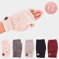 12 Pairs Cable Knit Button Detail Fur Lining Fingerless Gloves