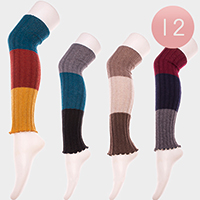 12 Pairs - Triple Tone Soft Cable Knit Long Leg Warmers