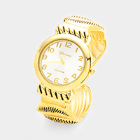 Antique Embossed Metal Round Dial Cuff Watch