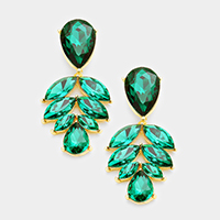 Marquise Glass Leaf Cluster Evening Earrings