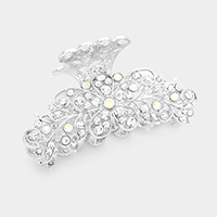 Pave Crystal Flower Hair Claw Clip
