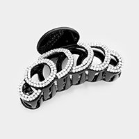 Pave Crystal Cut Out Round Hair Claw Clip