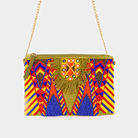 Boho Multi Color Beaded Clutch Bag
