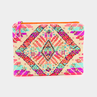 Boho Floral Multi Color Beaded Clutch Bag