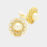 Rhinestone Pearl Accented Flower Clip on Earrings