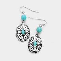 Antique Oval Turquoise Dangle Earrings