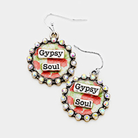 Gypsy Soul Stone Trim Patterned Round Dangle Earrings