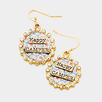 Happy Camper Stone Trim Patterned Round Dangle Earrings
