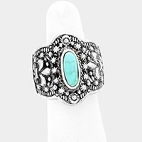 Antique Oval Turquoise Stretch Ring
