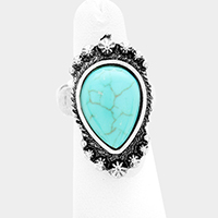 Antique Teardrop Turquoise Stretch Ring