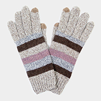 Soft Knit Striped Touch Gloves