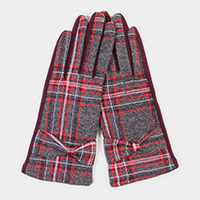 Plaid Check Bow Detail Touch Gloves
