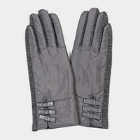 Solid Triple Bow Detail Touch Gloves