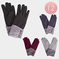 12PCS Triple Button Detail Touch Gloves