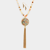 Free Spirit Beaded Patterned Round Drop Chain Tassel Necklace