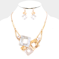 Bent Metal Square Link Statement Necklace