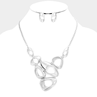 Geo Multi Metal Hoop Link Statement Bib Necklace