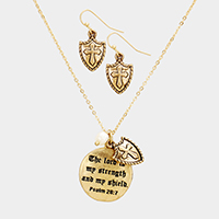 Psalm 28 : 7 Cross Pearl Charms Metal Disc Pendant Necklace