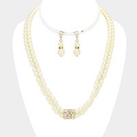 Layered Pearl Stone Accented Necklace