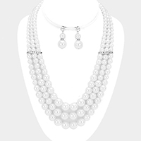 Layered Multi Sized Pearl Bead Bib Necklace