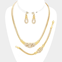 3PCS Rhinestone Triple Hoop Accented Necklace Jewelry Set