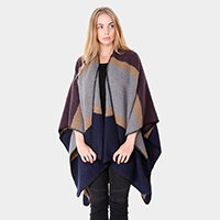 Soft Braid Trim Juxtapose Colored Poncho