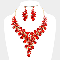 Marquise Teardrop Stone Leaf Cluster Bib Evening Necklace