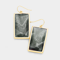 Gold Trimmed Semi Precious rectangle Bead Earrings