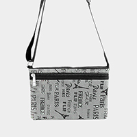 Printed Paris Eiffel Tower Small Crossbody Bag