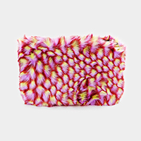 Faux Fur Patterned Clutch Bag