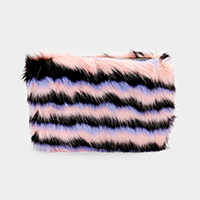 Faux Fur Striped Clutch Bag