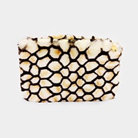 Faux Fur Honeycomb Patterned Clutch Bag