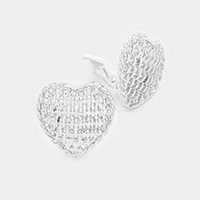 Woven Design Metal Heart Clip on Earrings