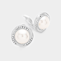 Rhinestone Pearl Accented Clip on Earrings
