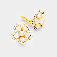 Floral Rhinestone Pearl Clip on Earrings