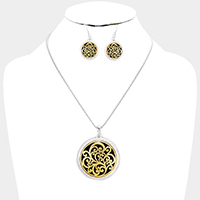 Antique Embossed Filigree Round Pendant Necklace
