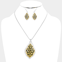 Antique Embossed Filigree Quatrefoil Pendant Necklace