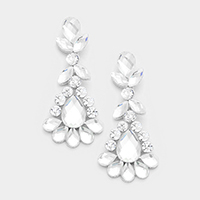 Marquise Floral Glass Teardrop Evening Earrings