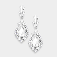 Marquise Glass Crystal Teardrop Accented Evening Earrings